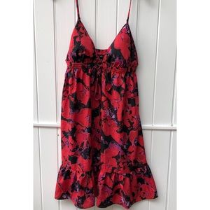 Moda international red floral Ruffle Sun Dress